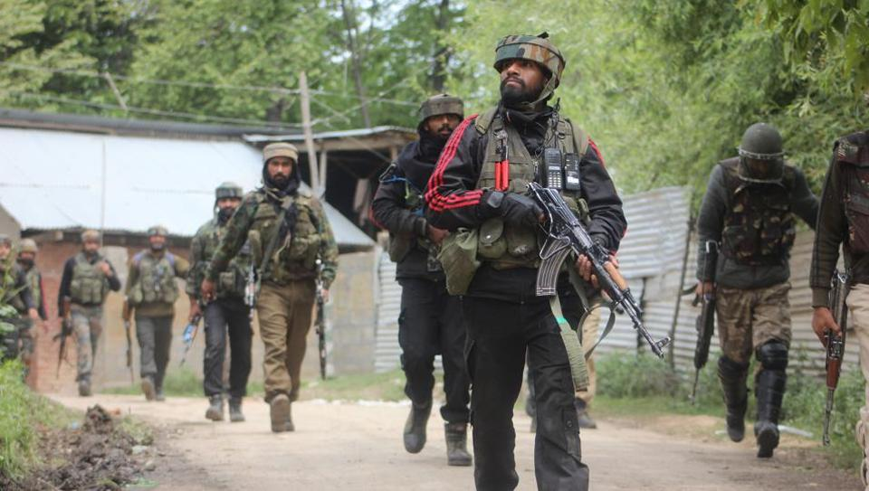 Army soldiers near the site of encounter in southern district of Shopian, Jammu and Kashmir.