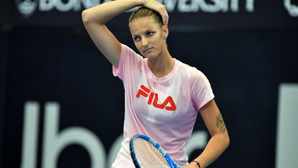 Czech Republic's Karolina Pliskova gets ready to serve during a practice session.
