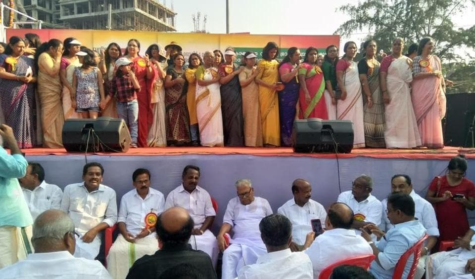"""Women participated in the 620 km-long state-sponsored """"Women's wall"""" campaign stretching from the northern tip of Kasaragod to the southern end in Thiruvananthapuram to uphold gender equality and renaissance values. The """"Women's wall"""" was conceived in the backdrop of frenzied protests witnessed in the hill shrine of Lord Ayyappa at Sabarimala after the CPI(M)-led LDF government decided to implement the SC verdict, allowing all women to pray at the Ayyappa shrine. (Vivek R Nair / HT Photo)"""