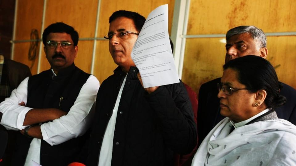 Congress's Randeep S. Surjewala releasing the purported conversation on Rafale deal between Goa Minister Vishwajit Rane and another person.