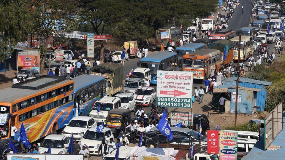 Traffic jam at Shikrapur as people visit Vijay Stambh to pay tribute on the occasion of 201st anniversary of the Bhima Koregaon battle on Tuesday. Heavy vehicles coming from Ahmednagar to Pune from the main highway were re-routed through the Shikrapur-Chakan road stretch. Similarly, vehicles plying from Ahmednagar road to Hadapsar were diverted to Shikrapur-Talegaon Dhamdere-Kedgaon-Chauphula-Solapur stretch. Commuters going to Ahmednagar from Pune hade to go via Chakan or Kharadi bypass via Hadapsar-Solapur-Kegaon Chauphula stretch. The new traffic arrangement on the entire Pune-Ahmednagar route had come into effect from midnight of December 31, 2018 till midnight of January 1, 2019. (Pratham Gokhale/HT Photo)