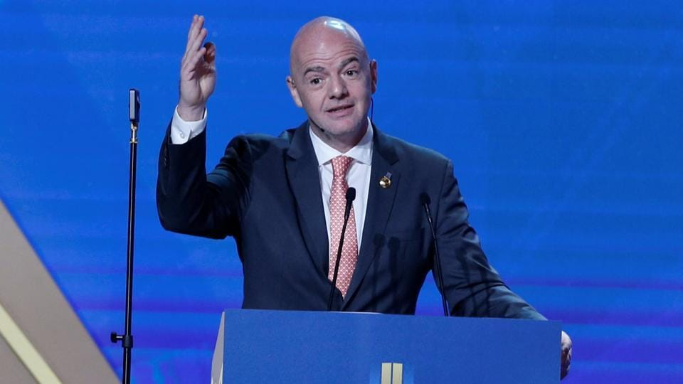 FIFA president Gianni Infantino gestures during the Dubai International Sports Conference in Dubai.