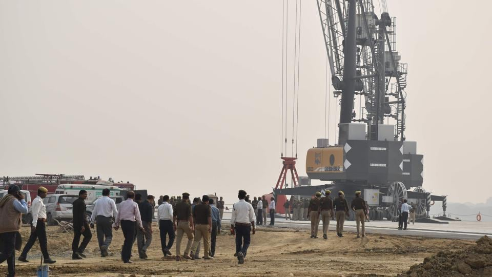 Work underway at the inland waterway project at Ram Nagar in Varanasi on November 11