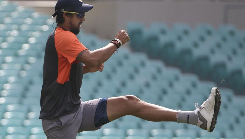 India's Ishant Sharma warms up during a training session in Sydney on Wednesday.