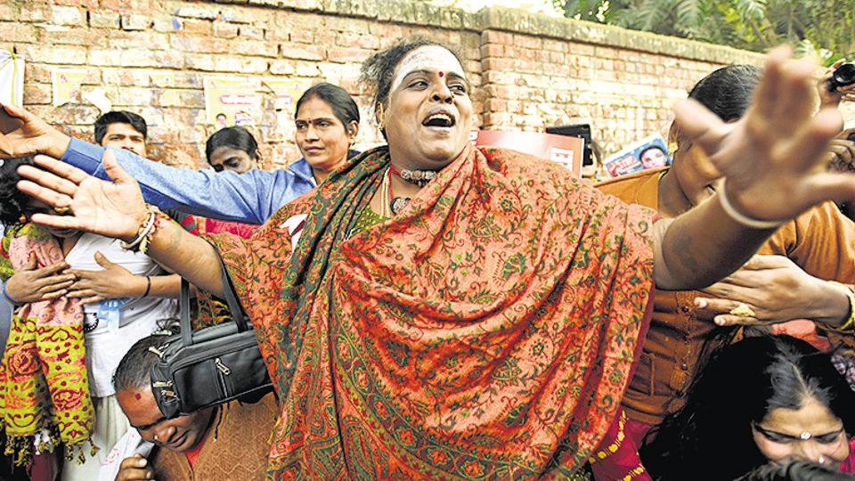 Members and supporters of lesbian, gay, bisexual and transgender (LGBT) community shout slogans during a protest to stop the Transgender Persons (Protection of Rights) Bill, at Jantar Mantar, New Delhi, December 28