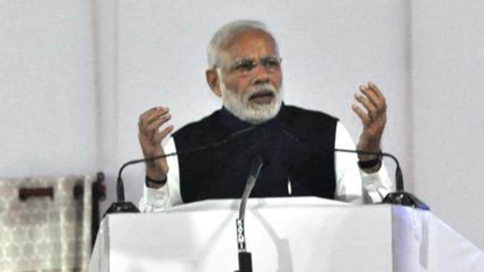 Prime Minister Narendra Modi speaks during the inauguration ceremony of two major national highways and an inland waterways projects, Varanasi, November 12, 2018