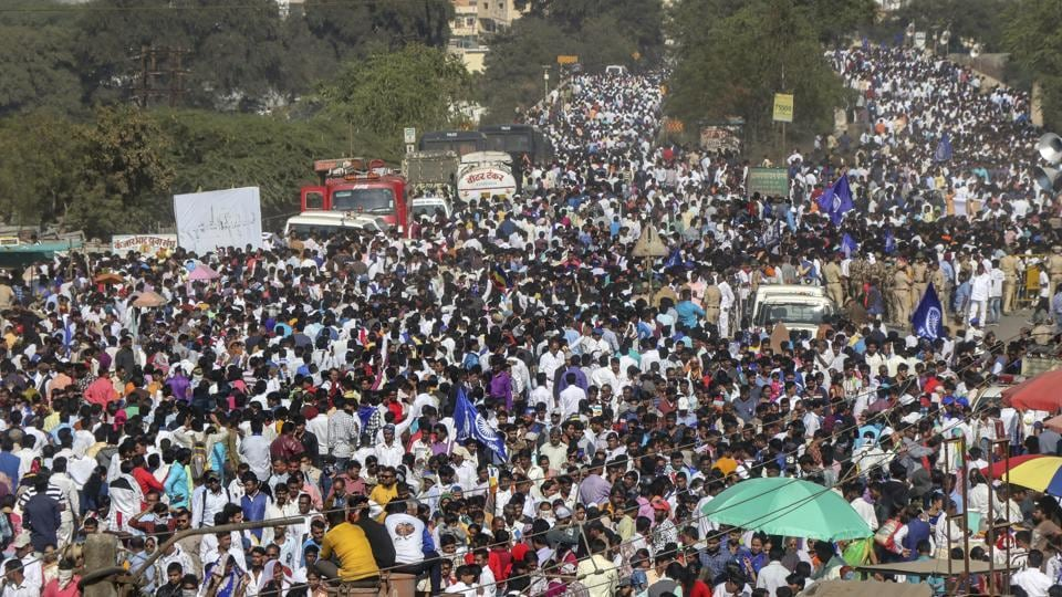 From the young to the old, all the family members made their way to the victory memorial, around 40 km from Pune, as a mark of pride and assertion, waving blue flags and raising slogans of 'Jai Bhim' amidst unprecedented security cover. (PTI)