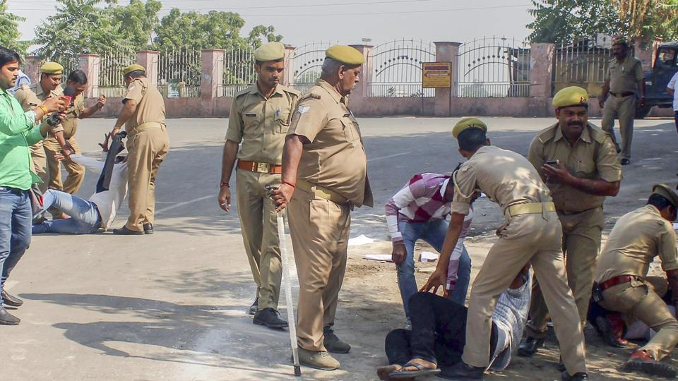 Bhavnagar police said a couple of policemen were also injured in stone-pelting by the protesting farmers from 11 villages in Bhavnagar district.