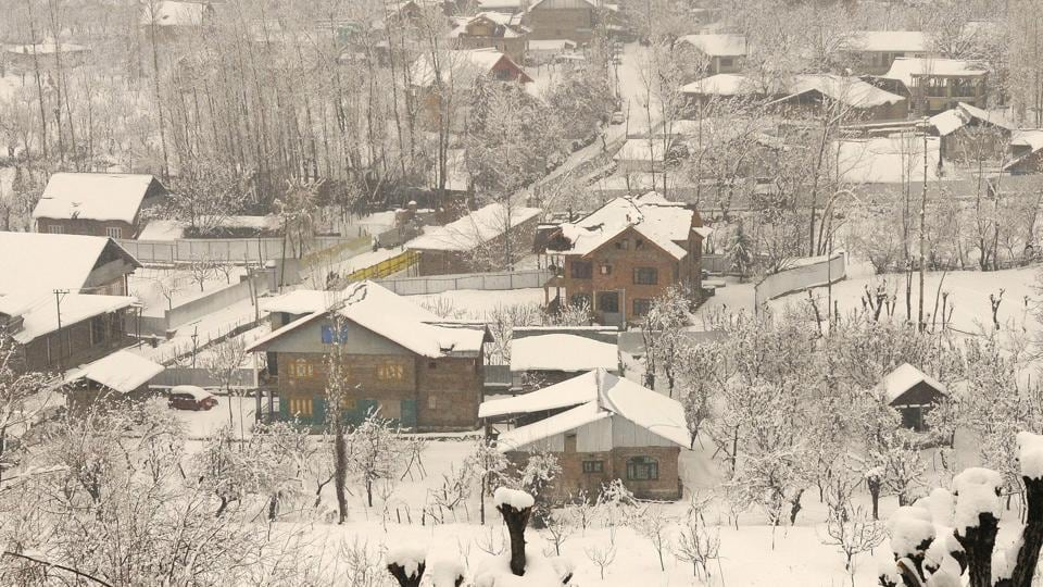 A snow-covered village at Tangmarg road about 38 kilometers from Srinagar.
