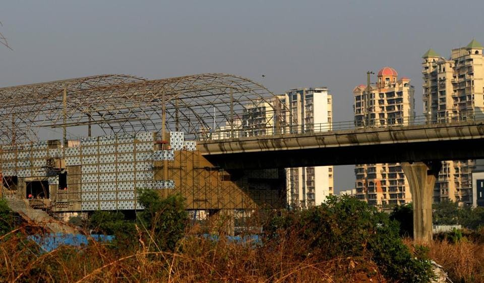 An under-construction metro station at Kharghar.