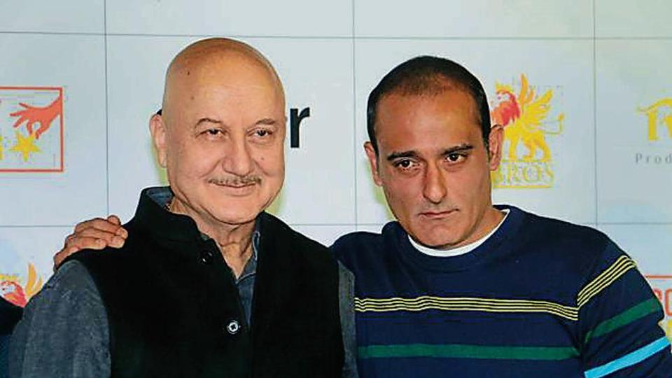 Bollywood actors Anupam Kher and Akshaye Khanna at the trailer launch of the film in Mumbai.