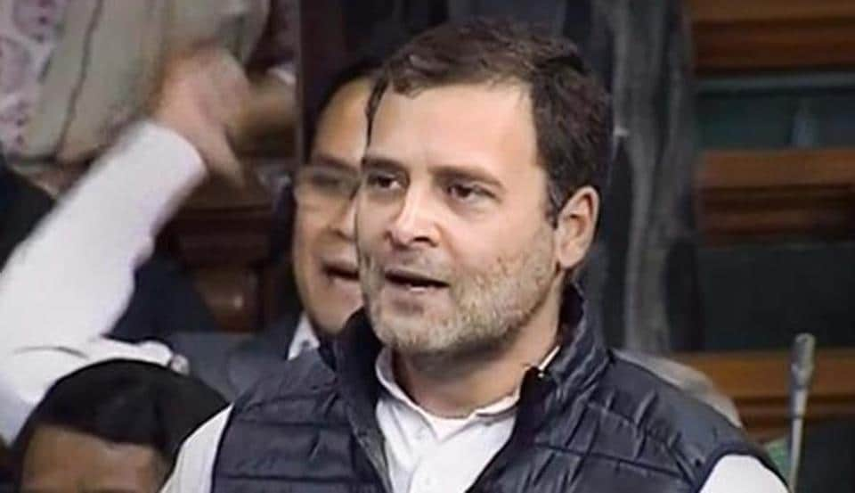 Congress President Rahul Gandhi speaks in the Lok Sabha during the discussion on Rafale issue at Parliament in New Delhi, Wednesday