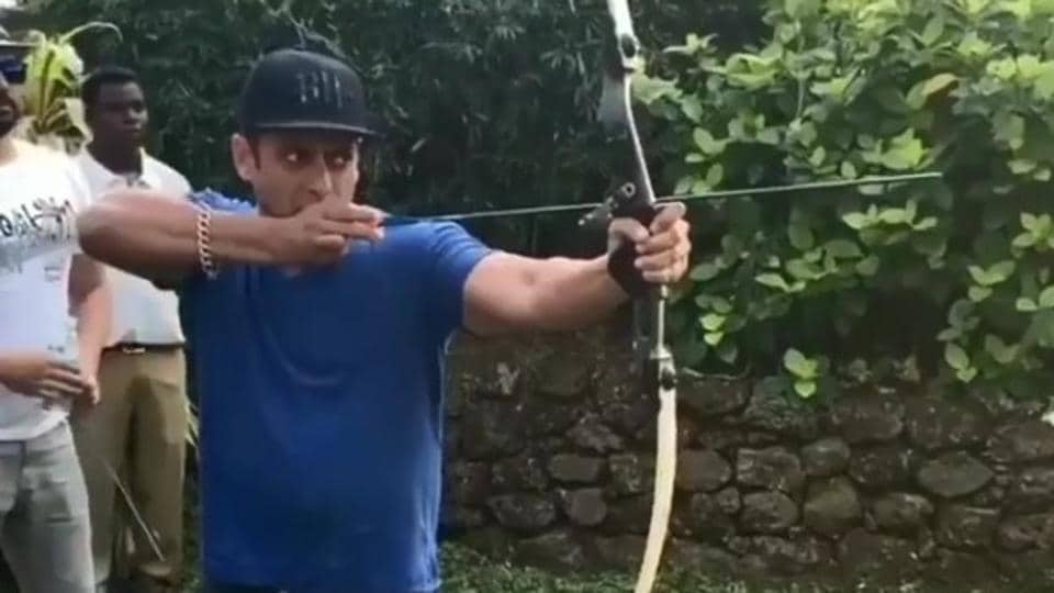 Salman Khan tries his hand at shooting with a bow and arrow.
