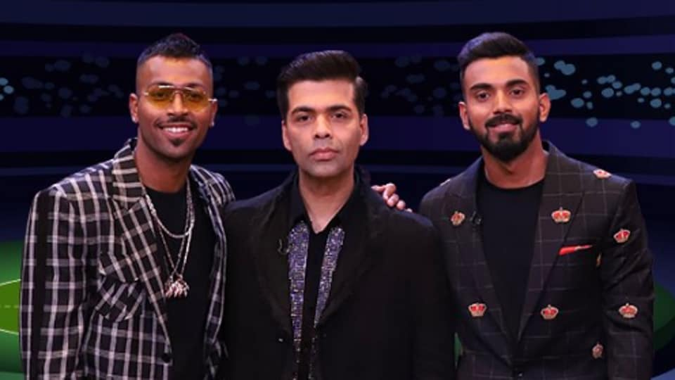 Hardik Pandya, Karan Johar and KL Rahul pose on the sets of Koffee with Karan.