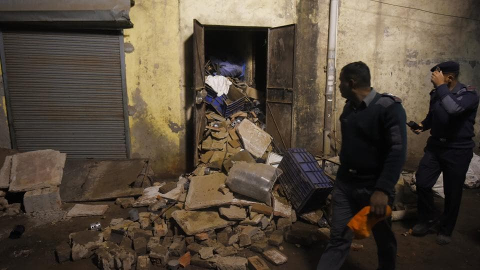 The owner, 35-year-old Ankit Gupta, was among eight people hospitalised after getting trapped under the debris. Monika Bhardwaj, deputy commissioner of police (west), said Gupta received more than 50% burns and remains critical at Safdarjung Hospital. Surviving workers said Gupta was instructing the men while standing close to a furnace, which is suspected to have exploded and triggered the collapse. (Sanchit Khanna / HT Photo)
