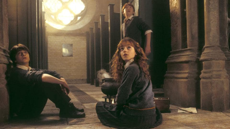 Harry, Ron and Hermione in a still from Harry Potter and the Chamber of Secrets.
