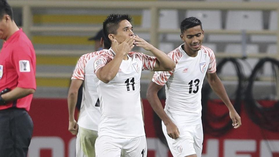 India's forward Sunil Chhetri celebrates his second goal during the AFC Asian Cup group A soccer match between Thailand and India at Al Nahyan Stadium in Abu Dhabi, United Arab Emirates.