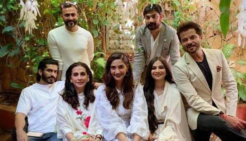Anil Kapoor with wife Sunita, Sonam Kapoor and husband Anand Ahuja, Rhea Kapoor, Karan Boolani and Harshvardhan Kapoor.