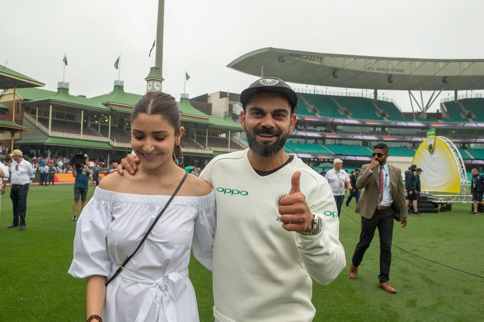 India's captain Virat Kohli celebrates with his wife Anushka Sharma after winning the series 2-1 following play being abandoned on day five in the fourth test match between Australia and India at the SCG in Sydney, Australia, January 7, 2019. AAP/Steve Christo/via REUTERS ATTENTION EDITORS - THIS IMAGE WAS PROVIDED BY A THIRD PARTY. NO RESALES. NO ARCHIVE. AUSTRALIA OUT. NEW ZEALAND OUT. (REUTERS)