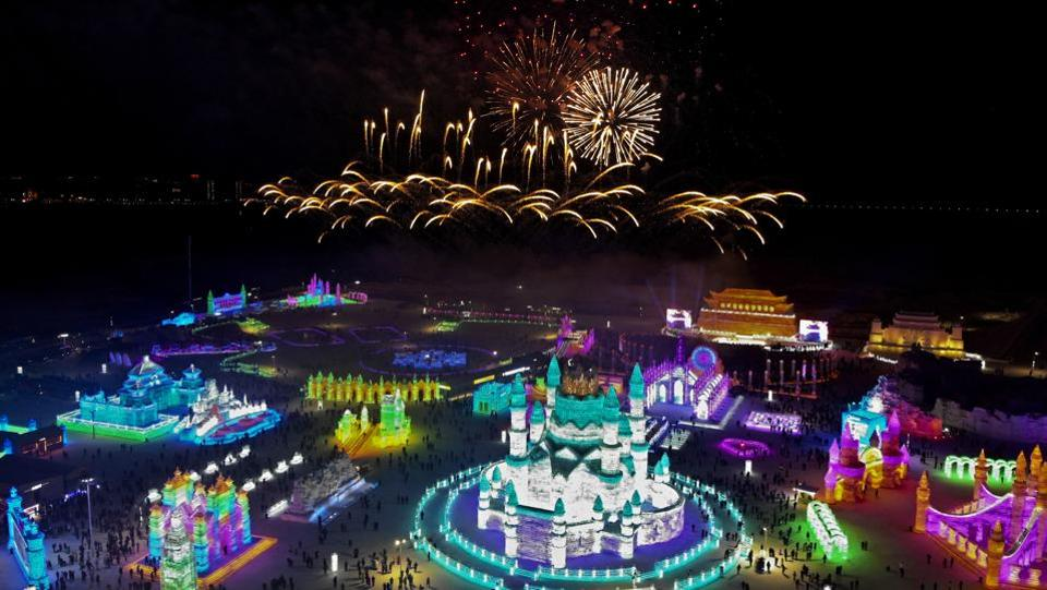 An aerial view shows fireworks explode over ice sculptures during the opening of the annual Harbin International Ice and Snow Festival. Temperatures can plunge as low as 35 degrees Celsius below zero in the city. The festival, which began on Saturday, draws millions of visitors from around the world every year. It began in the early 1980s. (Olivia Zhang / AP)