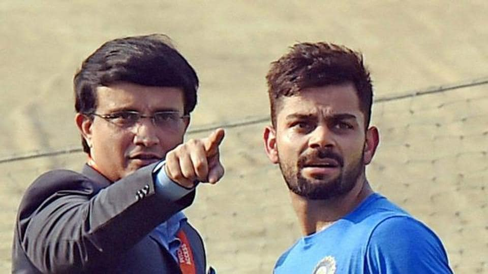 File photo of Sourav Ganguly with Virat Kohli during Indian team's practice session at the Eden Gardens in Kolkata.
