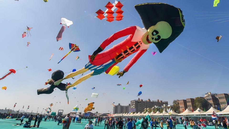 Enthusiasts launch pirate shaped kite on the first day of this nine-day festival. Governor Kohli said the festival inspires healthy competition and a spirit of brotherhood among different communities. (Santosh Hirlekar / PTI)