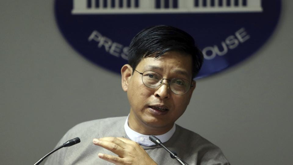 Myanmar's government spokesman Zaw Htay talks to media during a press briefing at the Presidential Palace in Naypyitaw, Myanmar on January 7.