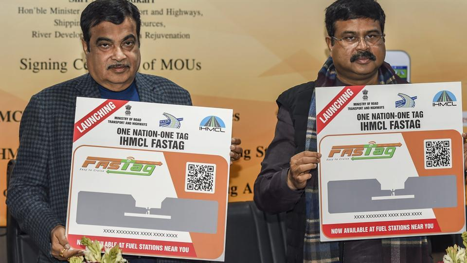 Transport Minister Nitin Gadkari with Petroleum Minister Dharmendra Pradhan launch the the IHMCL FASTAG after the signing of MoUs between HMCL and Oil Marketing Companies for issuance of IHMCL FASTAG through fuel-filling stations, in New Delhi on Jan 7.