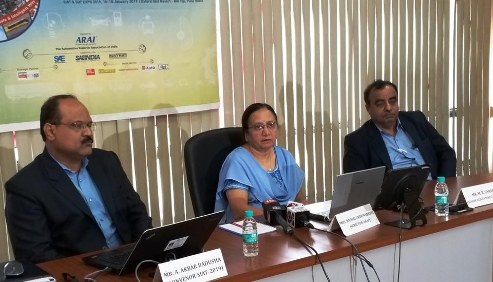 (Left to right) AR Sihag, secretary, department of heavy industry, Rashmi Urdhwareshe, director, ARAI and M RSaraf during a  press conference on Tuesday at ARAI.