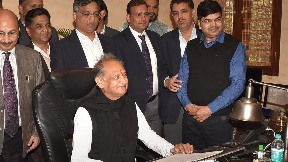 Rajasthan Chief Minister Ashok Gehlot with CMO officials  in Jaipur.
