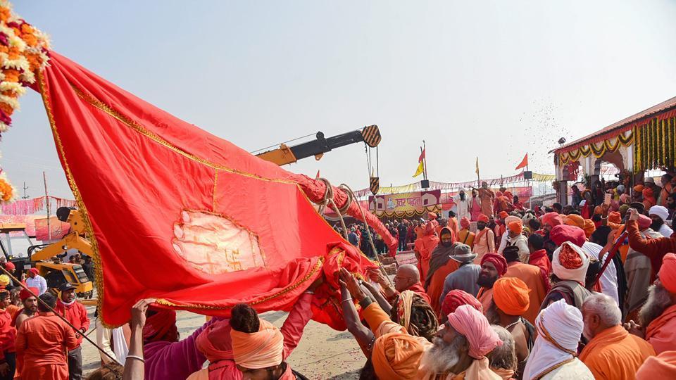Sadhus participate in flag-hoisting ceremony ahead of Kumbh Mela 2019, in Allahabad on January 8.