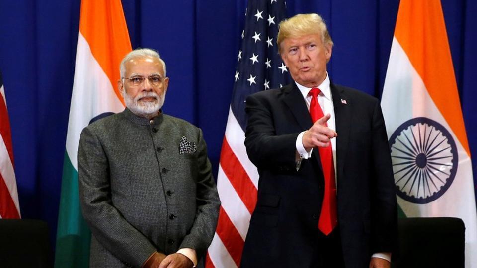 US President Donald Trump with Prime Minister Narendra Modi.