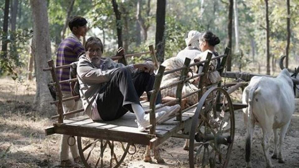 AmitabhBachchan at the shoot of his film, Jhund.
