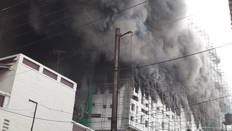 fire,fire at hospital,fire in under-construction hospital