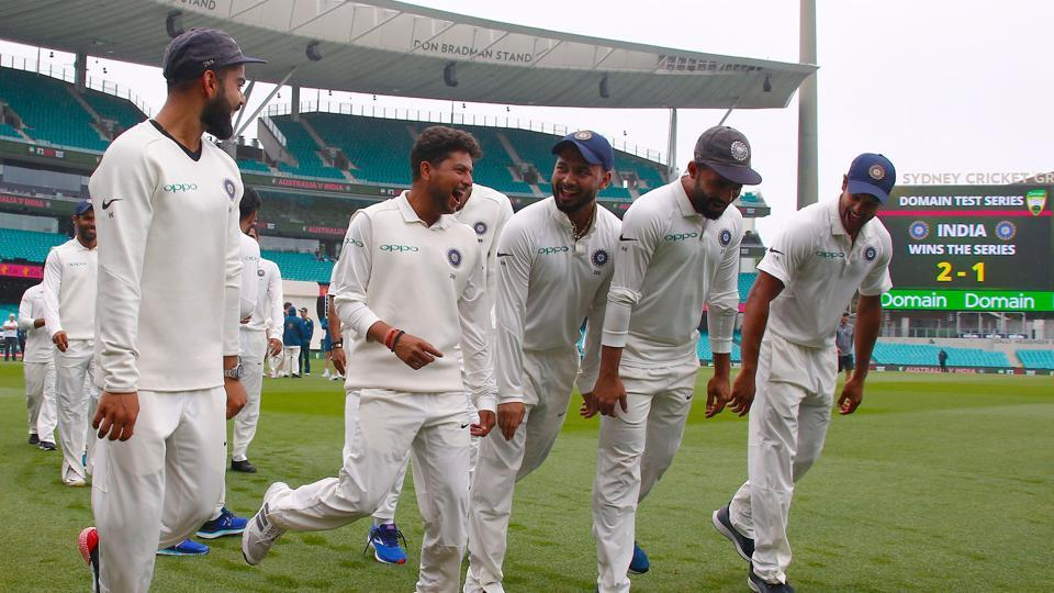 India's captain Virat Kohli (left) dances with teammates as they celebrate winning the Test series against Australia.