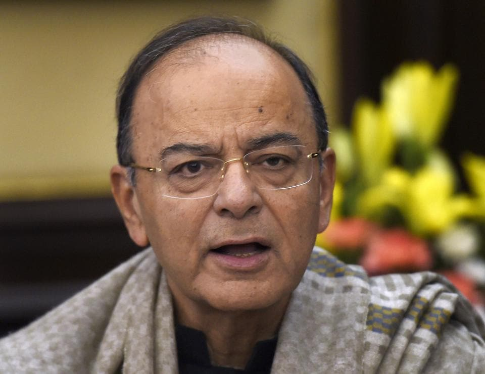 Union finance minister Arun Jaitley addresses the media in New Delhi.