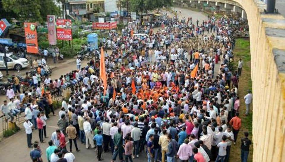 Maratha Kranti Morcha activists block the Pune-Bangalore national highway demanding reservation for the community, at Karad last year.