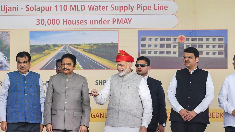Prime Minister Narendra Modi inaugurating the Solapur-Tuljapur-Osmanabad section of New NH-52, in Solapur on Wednesday.