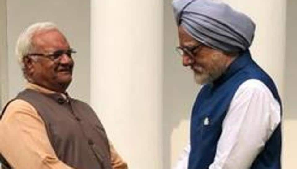 Ram Avatar Bhardawaj and Anupam Kher in a still from the movie 'The Accidental Prime Minister'.