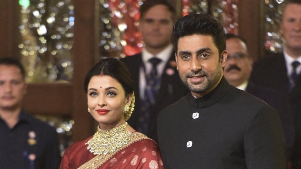 Aishwarya Rai Bachchan with husband-actor Abhishek Bachchan and daughter Aaradhya at Isha Ambani's wedding with Anand Piramal in Mumbai on December 12, 2018.