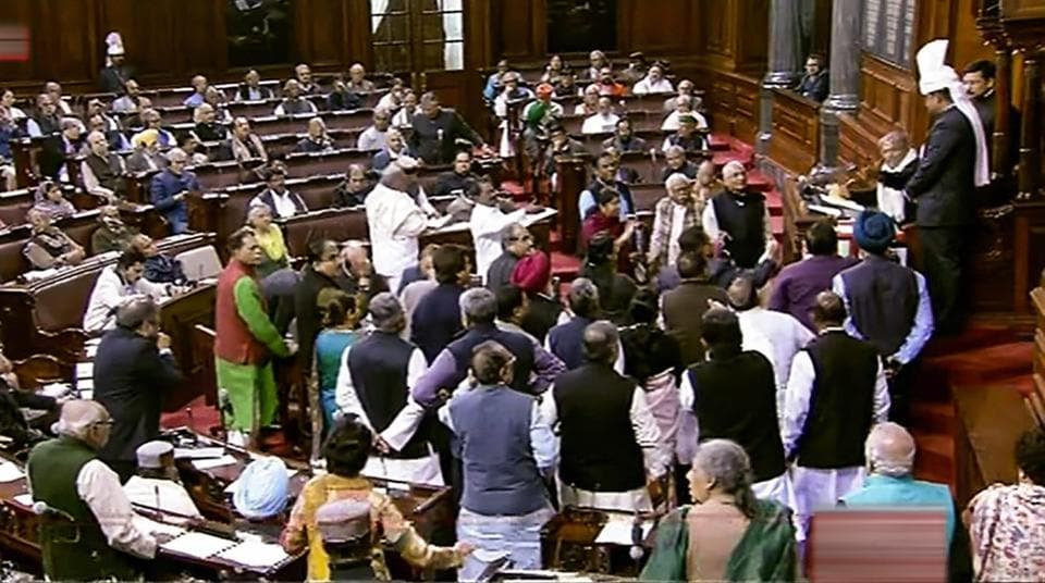 The Congress and other opposition parties on Wednesday strongly protested in the Rajya Sabha over the introduction of the 10% reservation bill of economically weaker sections.