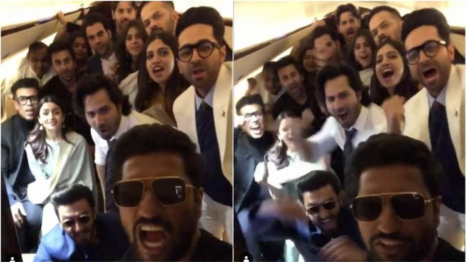 Vicky Kaushal Gets An Airplane Full Of Bollywood Stars Screaming For
