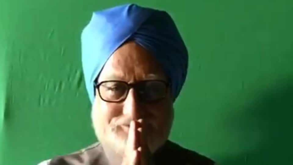 Anupam Kher as former PM Dr Manmohan Singh, in a behind-the-scenes image from the Accidental Prime Minister.