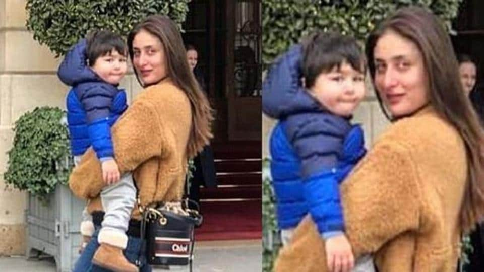 Kareena Kapoor with her son Taimur in Paris.