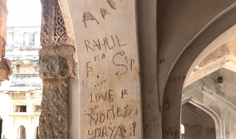 Graffiti on the walls of the Octagonal Royal Ladies' bath at Hampi