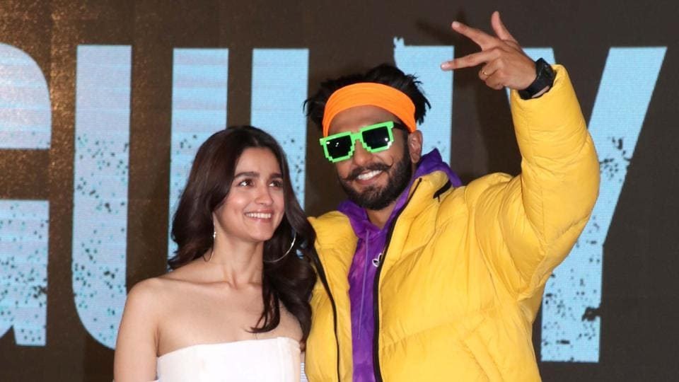 Bollywood Actors Ranveer Singh and Alia Bhatt poses during trailer launch of their upcoming film Gully Boy.