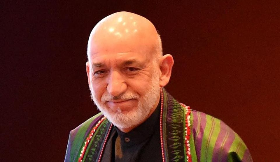 Former President of Afghanistan Hamid Karzai (C) at the inaugural event of the three-day Raisina Dialogue conference in New Delhi.