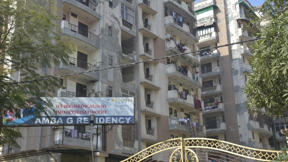 A view of Amba G society at Indirapuram, in Ghaziabad.  There are 16 CCTV cameras in the apartment, but only 50% are operational, as the society is under renovation.