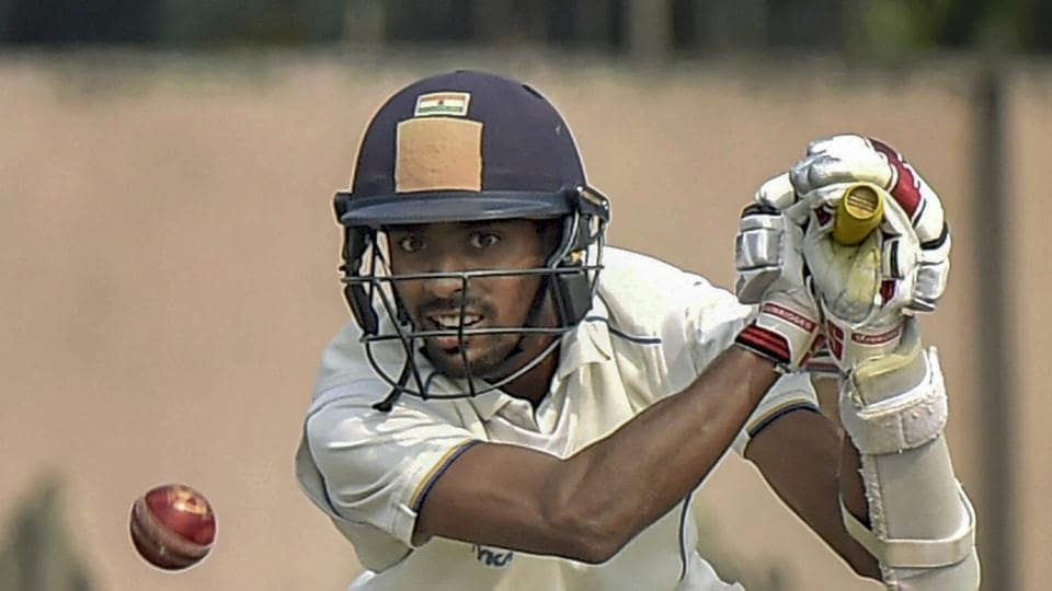 Kolkata: Bengal cricketer Abhimanyu Easwaran hits a shot on the 3rd day of their Ranji Trophy cricket match against Punjab, in Kolkata.