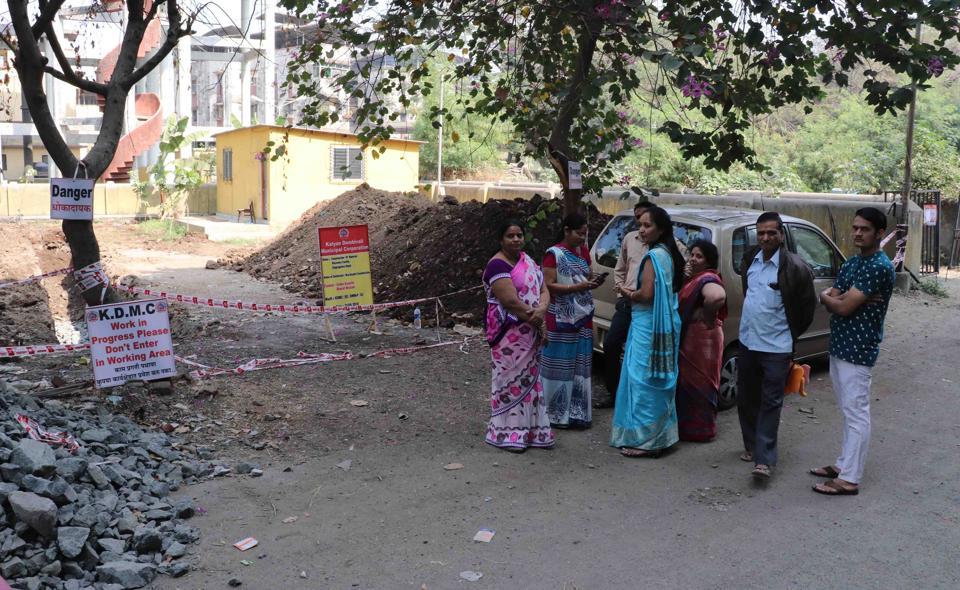 Rambaug residents protest outside the garden on Thursday.